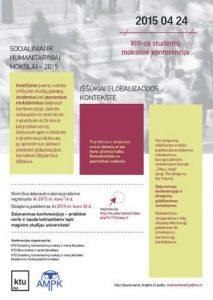 """Kviečiame į kasmetinę studentų mokslinę konferenciją """"Socialiniai ir humanitariniai mokslai 2015"""""""