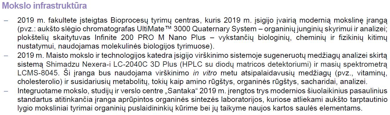 Mokslo infrastruktūra 2019